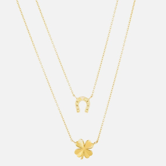 14k Solid Yellow Gold Womens Luck Trendy Layered Charm Pendant Chain Necklace
