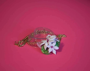 """Necklace """"Spring Flowers"""" with gold chain"""