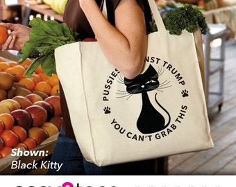Pussies Against Trump, 2016, Bag, Shopping, Tote, Black Cat, Pussy, Kitty, Humor, Political, Purr, Comical, Democrat, Liberal, Whiskers