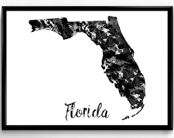 Map of Florida, United States of America, Black and White Map, Travel, Watercolor, Room Decor, Poster, gift, Printable Wall Art (741)