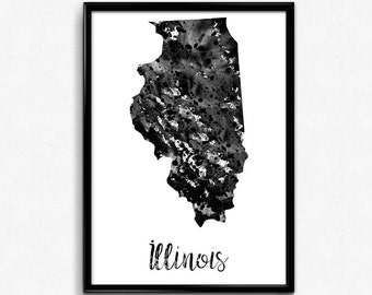 Map of Illinois, United States of America, Black and White Map, Travel, Watercolor, Room Decor, Poster, gift, Printable Wall Art (746)