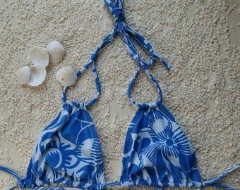 Triangle bikini top/ plus size bikini top/ flowery bikini top/ halter bikini top / costum made bikini top/ bikini top size xs-3xl.