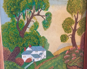 Landscape Oil Painting, Oak Framed, Naive Illustration Style, 17 x 20.5, Puffy tall Trees, road, white farmhouse, pink blue sky, 1965