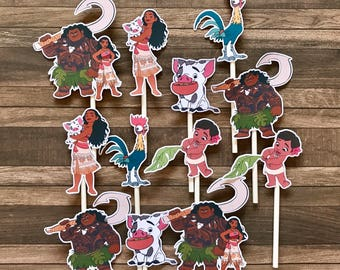 MOANA Cupcake Toppers / Cake Toppers / Die Cuts / Birthday Party / Decorations / Cake Pops / Supplies / Decor / Scrapbook