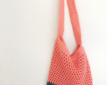 20% OFF MARK DOWN Market / Beach Bag in Poppy and Navy