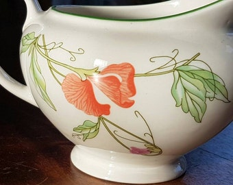 Pretty Sweet Pea Porcelain Milk Jug, intricate botanical design on a gloss white glaze. Vintage, made in England, immaculate condition.