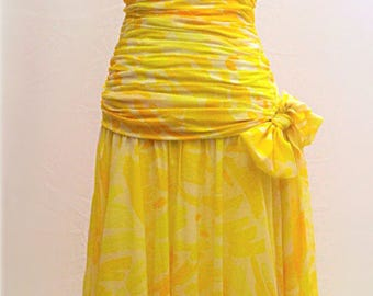 Josh Charles yellow evening dress. UK size 10. Long flowing formal frock with ties and boned bodice.