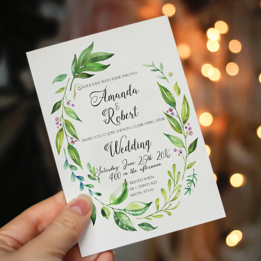 Wedding Invite Printing: Printable Wedding Invitation Printable Greenery Wedding