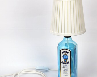 Bottle Lamp - Upcycled - Decorative - Bombay Sapphire Table Lamp - with White Shade