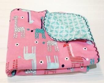 Flannel Receiving Blanket - Pink/Turquoise Giraffes