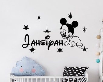 Wall Decal Custom Name Mickey Mouse Vinyl Sticker Decals Personalized Boys  Name Nursery Wall Decor Kids