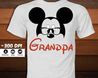 Mickey Mouse Shirt-Grandpa Mickey Mouse Iron on Transfer T-Shirt-Disney Mickey mouse party decoration-INSTANT DIGITAL DOWNLOAD
