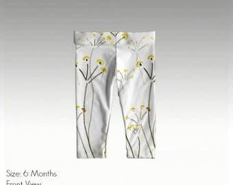 """Baby/Toddler Leggings by JRG Original Design - """"Mid-Century Modern Flowers"""" in sizes: 6mo, 1yo, 2yo, 3yo (quick dry & antibacterial)"""