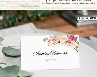 Place Card Template, Printable Place Card, Seating Cards, Table Numbers, Place Cards, Fits to #A008, Editable PDF-you personalize at home.