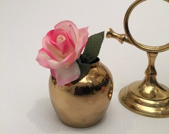 Round Brass Bud Vase or Mini Planter