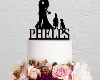 Wedding Cake Topper,Family Cake Topper,Custom Cake Topper With Dog,Last Name Cake Topper,Bride and Groom Cake Topper