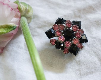 1950s Pink + Black brooch
