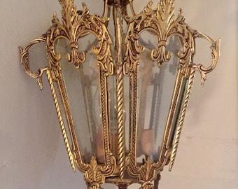 antique brass lantern pendant 5 glass panels / vintage hanging ceiling light
