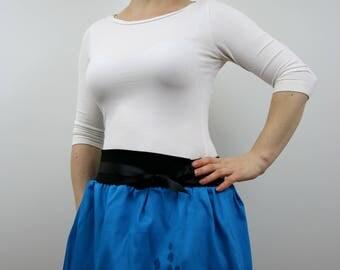 Lavender blue skirt, bubble skirt, balloon skirt, embroidered skirt, aline skirt, women skirt, elastic waist, cotton skirt, XS-XL size