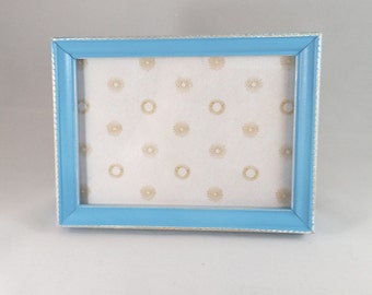 Sky blue distressed 5x7 picture frame; thrifted frame; light blue photo frame; blue and gold;