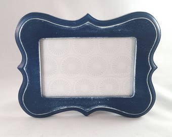 Navy Blue Distressed Picture Frame; 5x7 Picture Frame; Thrifted and Upcycled; Blue and White Picture Frame