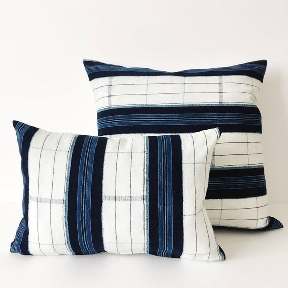 18 x 12 Indigo and White Stripe Pillow