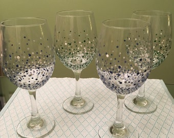 Hand Painted Wine Glasses - Bubbly Collection