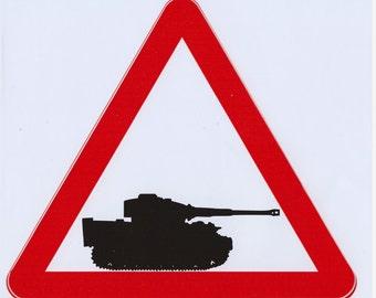 Tiger tank warning red triangle vinyl sticker. Tank  sticker. Tiger tank vinyl decal. Tiger tank sticker. Panzer sticker. Tiger 1 sticker