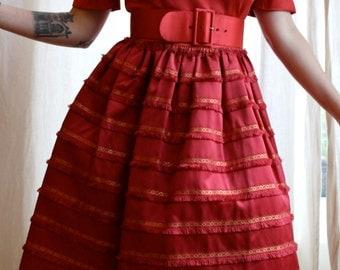 1950s red patio dress | 50s Wallis gold thread dress
