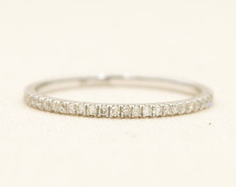 Micro Pave Diamond Full Eternity 18K Gold Thin Wedding Band Ring AD1104E