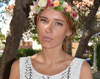 Preserved flowers crown Charlotte for your wedding - bridal hairstyle