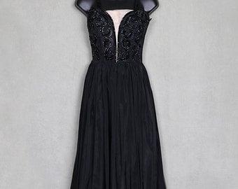 1940 beaded black gown, sequined taffeta evening dress, halter bodice, full skirt, noir, burlesque, gothic, plunging neckline.