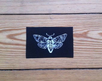 Moth Patch, Insect Patch, Sew on Patch, Black Patch, Punk Patch