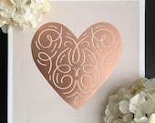 Rose Gold Heart-Canvas Sign, Wall Decor, Nursery Decor, Girls Room Decor, Anniversary Gift, Housewarming Gift, Dorm Decor, Mother's Day Gift