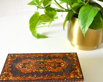 Hand painted / carved wood crate box jewelry box