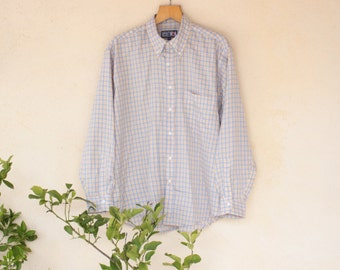 Yellow And Blue Gingham Check Vintage Button Down Collar Shirt - Size Extra Large
