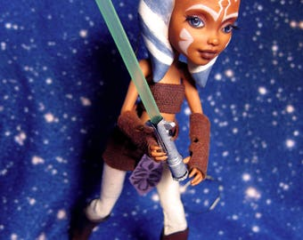 AHSOKA TANO - Star Wars OOAK Doll - Monster High Repaint - Togruta Custom Doll