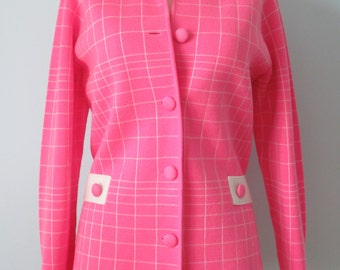 Vintage 60s Bubblegum Pink Retro Knit Sweater