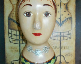 Hand Painted Store Display Mannequin Head