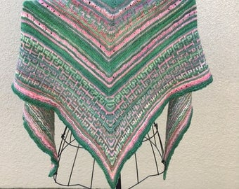 Hand knit with Handspun yarns- Mosaic knit triangle shawl in Rose Garden colors