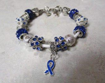 Dark Blue Colon Cancer Pandora Like Bracelet #720