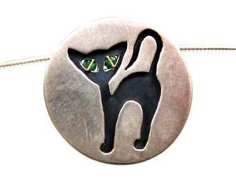 Cat pendant in silver with green eyes on silver rhinestone, cat jewelry