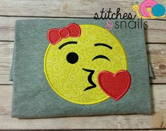 Girl Kissy Face Emoji Applique Shirt