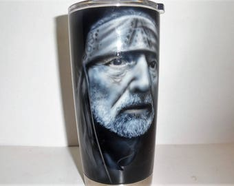 Airbrushed Willie Nelson tumbler