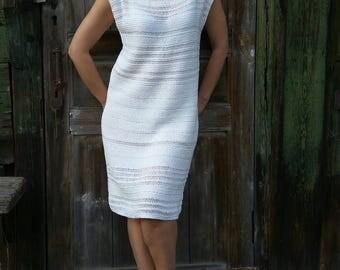 SUMMER SALE 30%! White Knit Dress, Handknitted Dress, For Wedding Quest, Cotton Dress, Sleeveless Dress, Summer White Dress,  Lace Dress