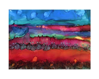 Red Waterfall Dreamscape Original Alcohol Ink Painting
