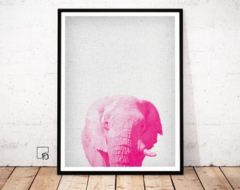 Elephant Print, Elephant Poster, Elephant Wall Art, Elephant Africa Decor, Elephant scandinavian art, Elephant Printable, Nursery wall Art