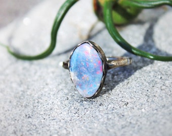 SALE opal and sterling silver ring