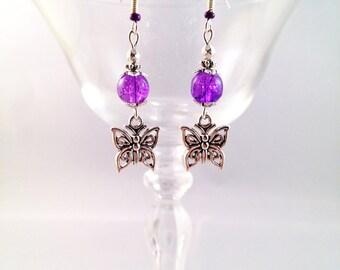 """""""Purple Butterfly"""" Silver earrings"""