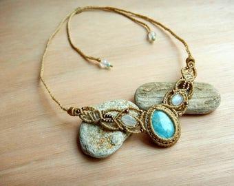 Larimar dream necklace, Larimar macrame necklace, Larimar jewelry-cabochon stone, macrame gemstone, healing stones, adjustable necklace